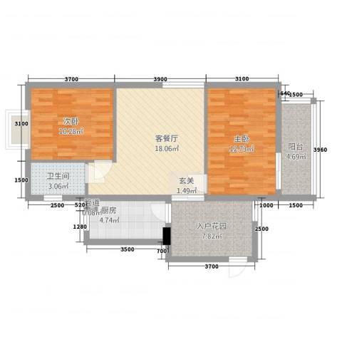 瑞阳首座2室1厅1卫1厨61.59㎡户型图