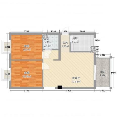 瑞阳首座2室1厅1卫1厨78.00㎡户型图