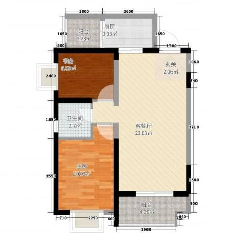 高科广场2室1厅1卫1厨76.00㎡户型图