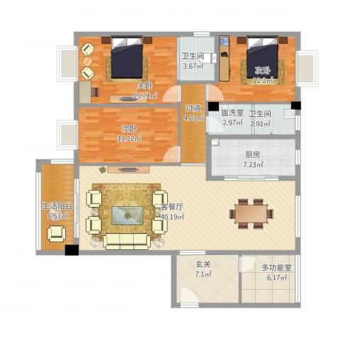 华盛-世纪新城3室2厅2卫1厨173.00㎡户型图