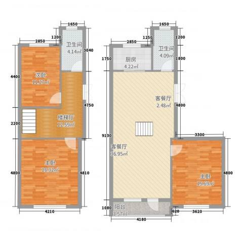 平安家园3室1厅2卫1厨154.00㎡户型图