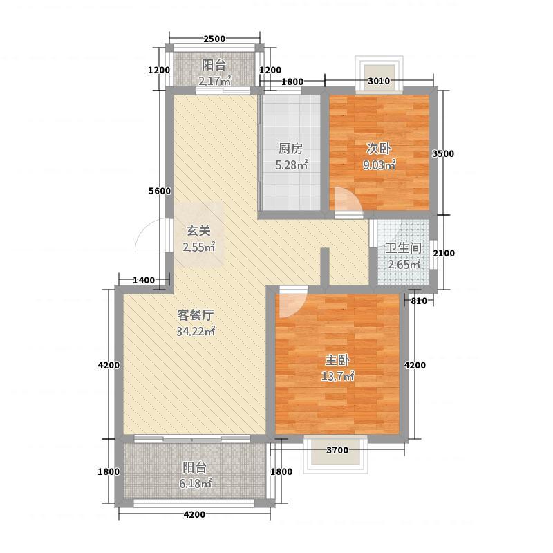 日月星城5.70㎡E户型2室2厅1卫1厨