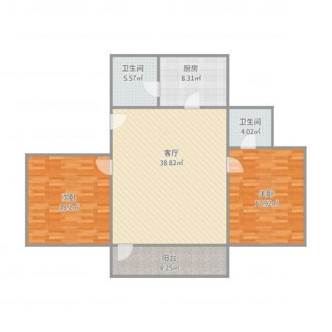 愉景雅苑2室1厅2卫1厨134.00㎡户型图