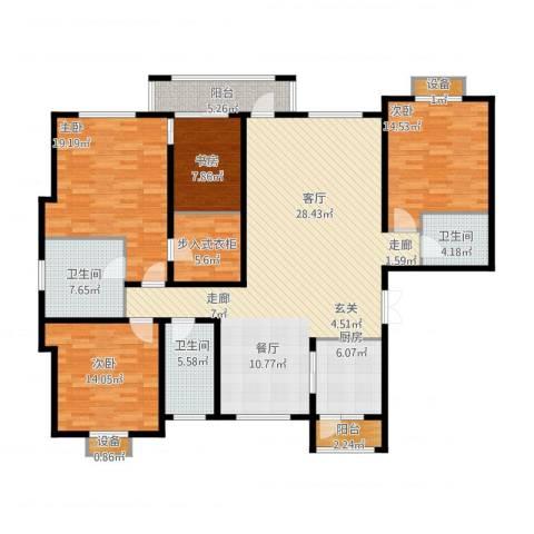 绿地英湖印象4室1厅3卫1厨204.00㎡户型图