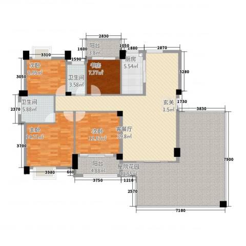 帝豪时代广场4室1厅2卫1厨148.74㎡户型图