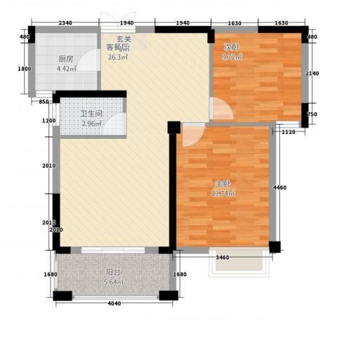 格林公馆2室1厅1卫1厨62.78㎡户型图