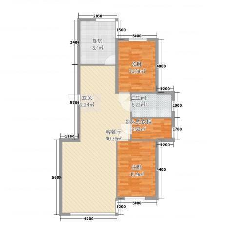 龙城佳园2室1厅1卫1厨81.09㎡户型图