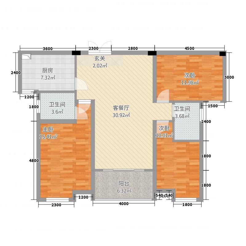 鸿申翡翠城6115.22㎡户型3室2厅2卫
