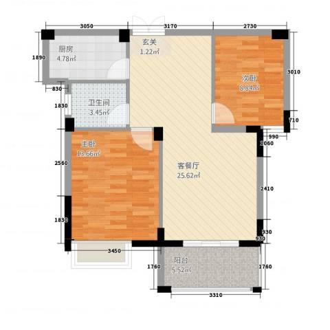 格林公馆2室1厅1卫1厨87.00㎡户型图