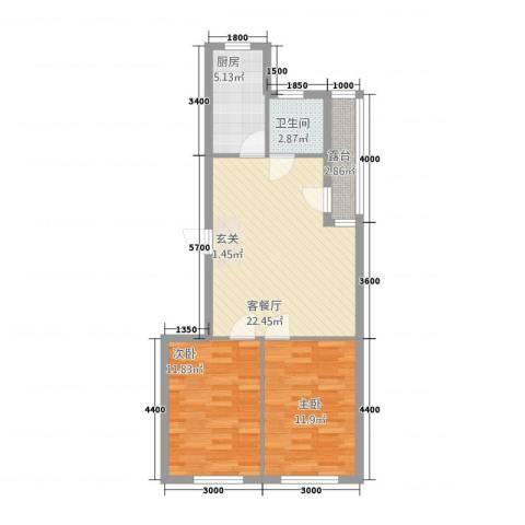龙城佳园2室1厅1卫1厨75.00㎡户型图
