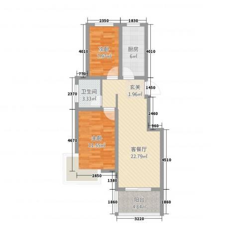万盛香槟国际2室1厅1卫1厨83.00㎡户型图