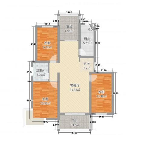万盛香槟国际3室1厅1卫1厨126.00㎡户型图