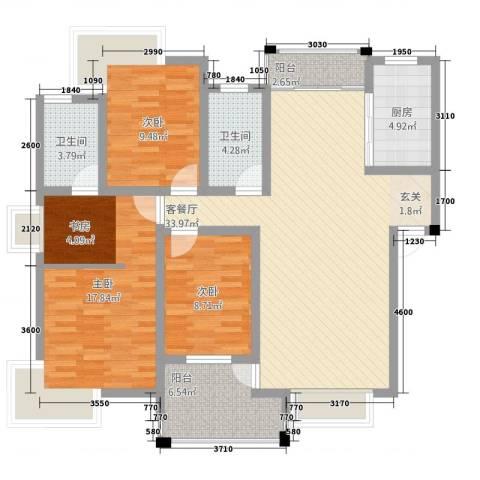 格林公馆3室1厅2卫1厨133.00㎡户型图