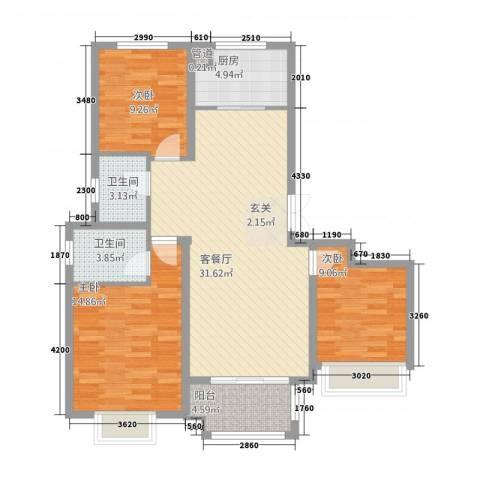 科达・府左华苑3室1厅2卫1厨116.00㎡户型图