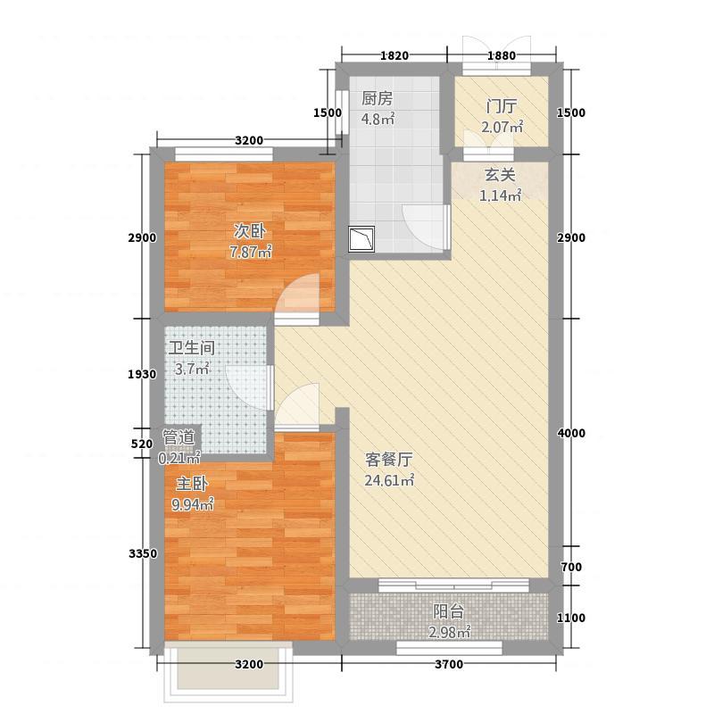 牡丹江万达广场83.20㎡A户型2室2厅1卫1厨