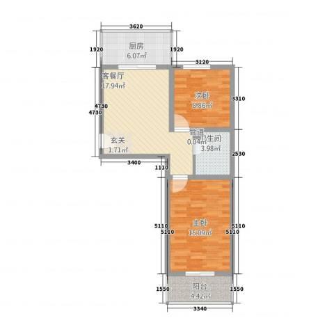 东秀苑三期2室1厅1卫1厨81.00㎡户型图
