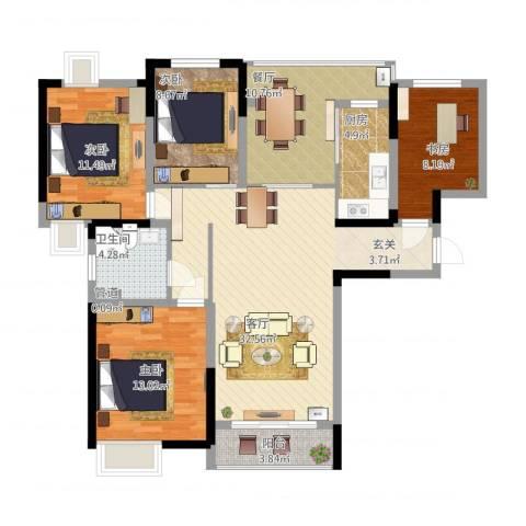 时代豪庭4室2厅1卫1厨140.00㎡户型图