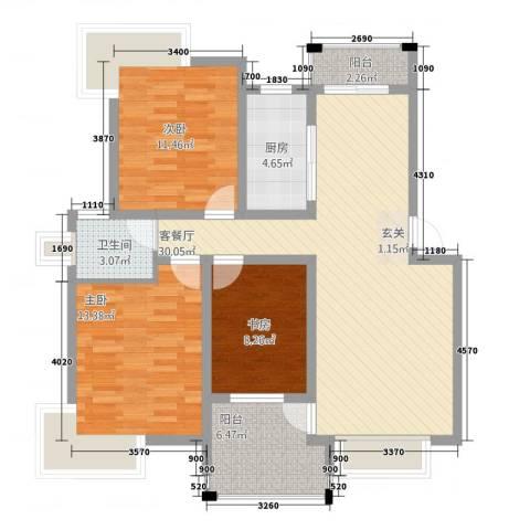 格林公馆3室1厅1卫1厨115.00㎡户型图