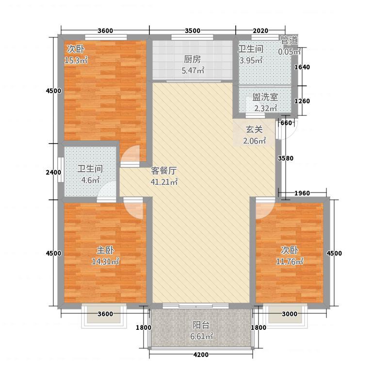 天元棠樾湖居138.40㎡A6标准层户型3室2厅2卫1厨
