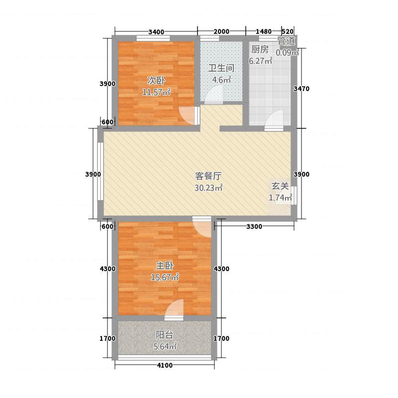 水岸公馆81.00㎡81户型2室2厅1卫1厨