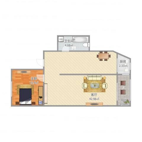 锦泉南园1室1厅1卫1厨89.00㎡户型图
