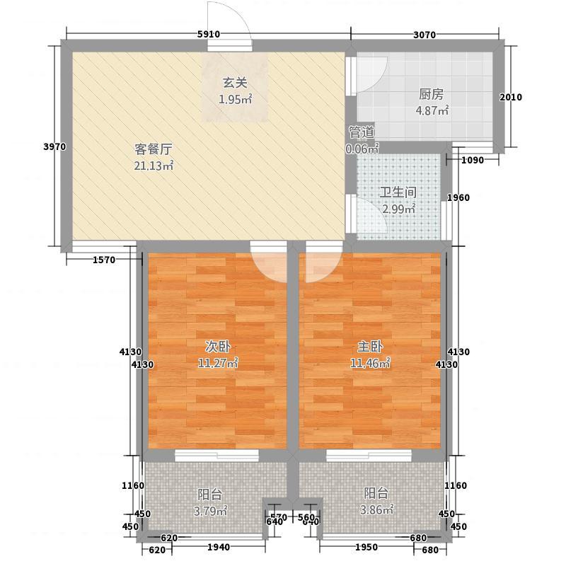 弘康・金水湾86.20㎡L户型2室2厅1卫1厨