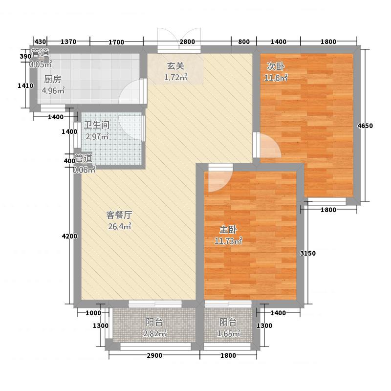 麒麟郡A户型2室2厅1卫1厨