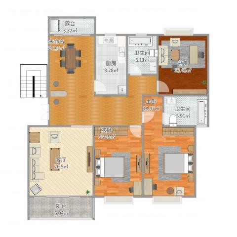 东湖丽岛3室1厅2卫1厨167.00㎡户型图