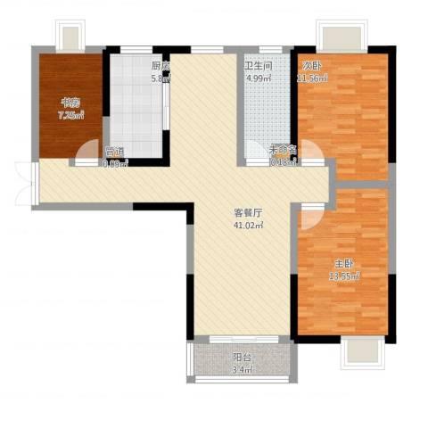锦荷苑2室1厅3卫1厨93.80㎡户型图