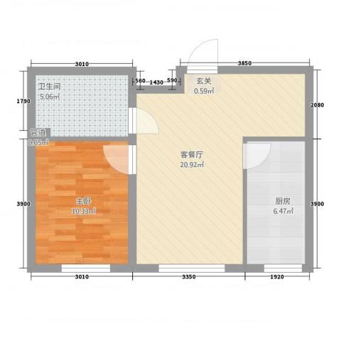 城投・畅心园1室1厅1卫1厨63.00㎡户型图
