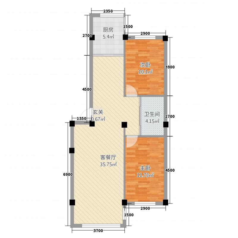 荣田尊府户型2室2厅1卫1厨