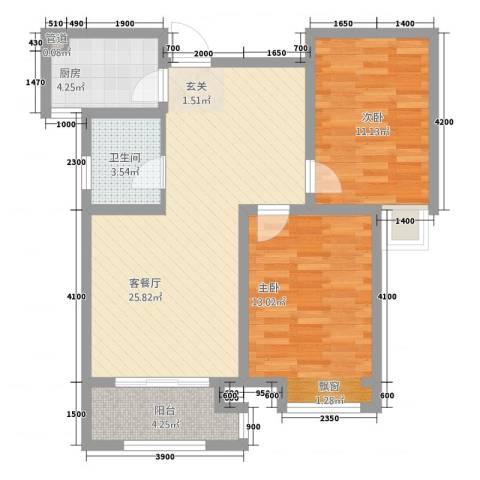 科达・府左华苑2室1厅1卫1厨90.00㎡户型图