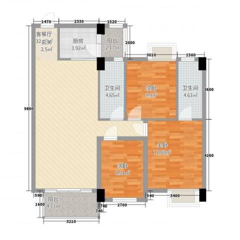 阳光新城3室1厅2卫1厨83.39㎡户型图