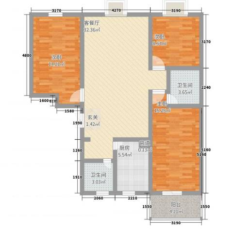 盛景华都3室1厅2卫1厨87.02㎡户型图