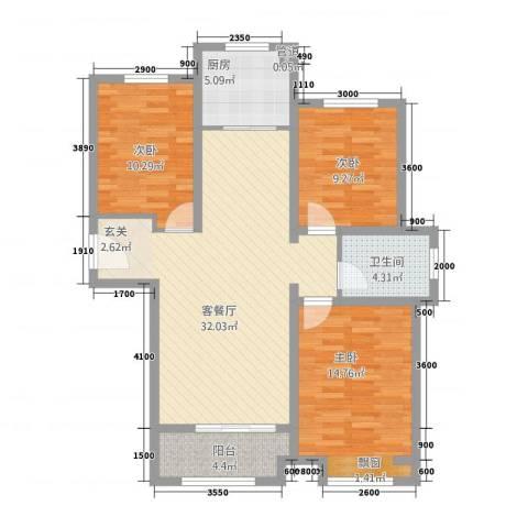 科达・府左华苑3室1厅1卫1厨115.00㎡户型图