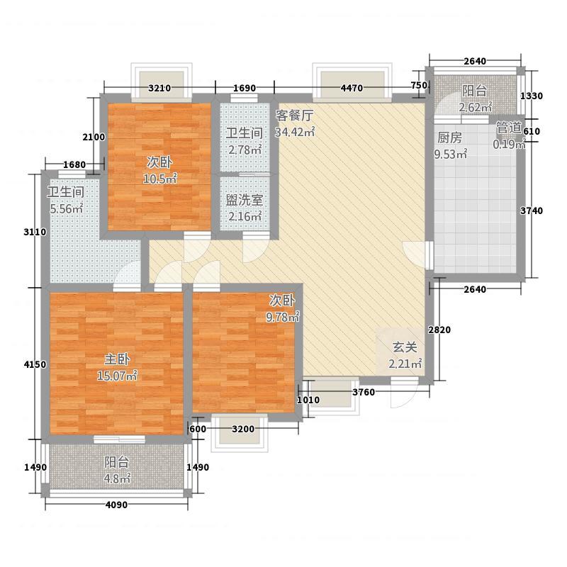 华坤・景山庄园3142.20㎡C户型3室2厅2卫1厨