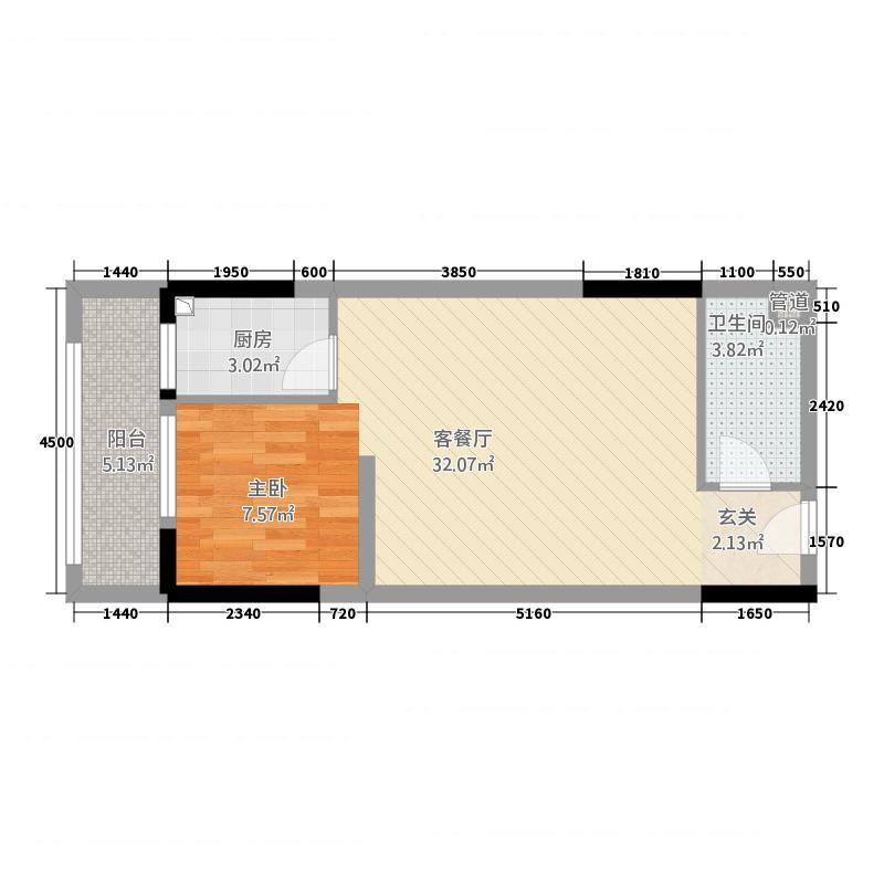 佳惠大厦56.61㎡A-8户型1室2厅1卫