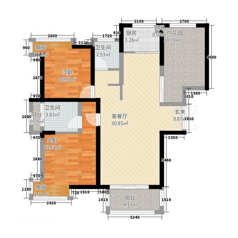 万隆・清水湾117.00㎡16号楼户型3室2厅2卫1厨