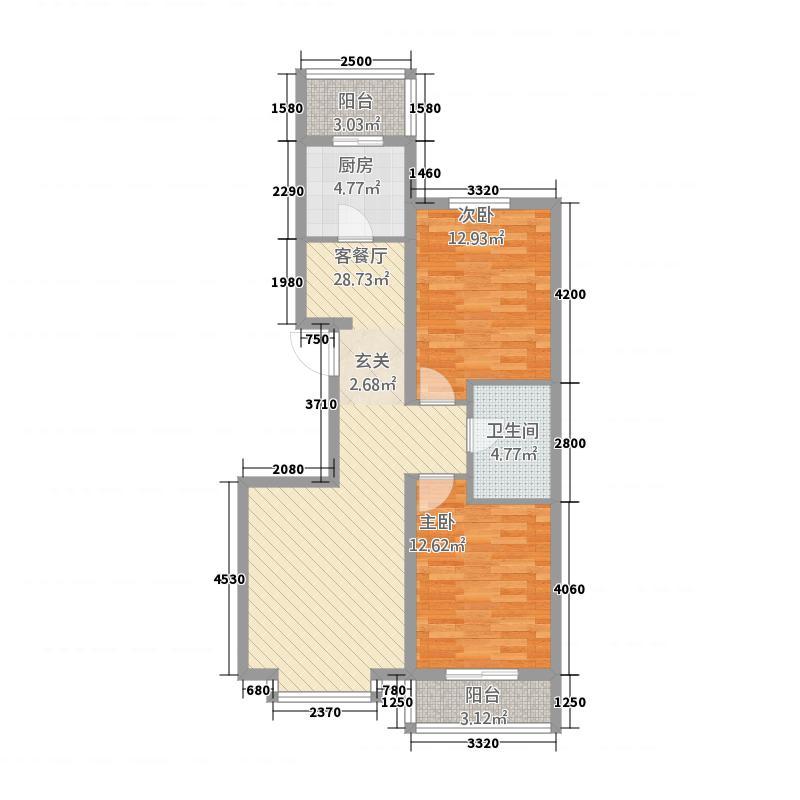 头道沟家园7.72㎡a户型2室2厅2卫1厨