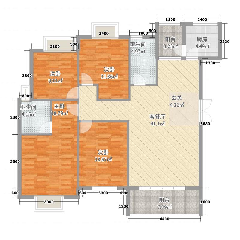 公园华府143.60㎡C户型4室2厅2卫1厨