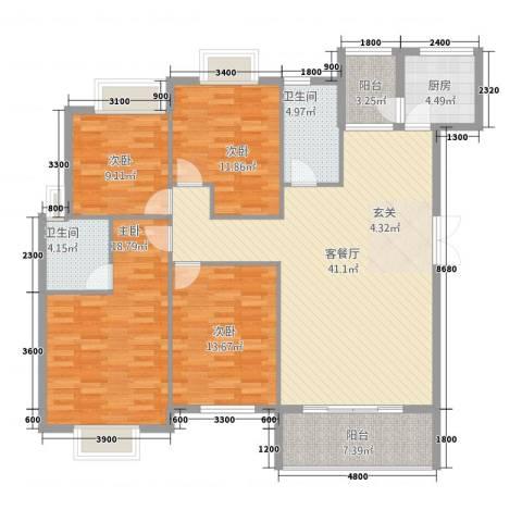 公园华府4室1厅2卫1厨144.00㎡户型图