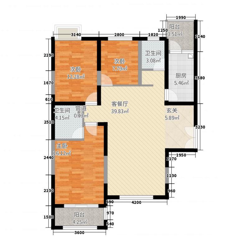 亿城通山水庭院15.00㎡B户型3室2厅1卫1厨