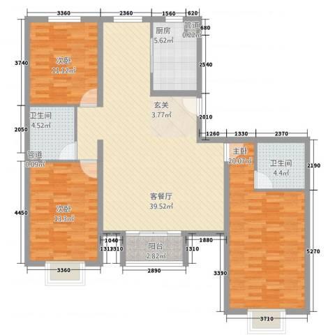世贸广场3室1厅2卫1厨143.00㎡户型图