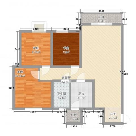 西科苑3室1厅1卫1厨74.67㎡户型图