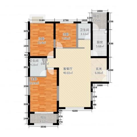 亿城通山水庭院3室1厅2卫1厨124.00㎡户型图