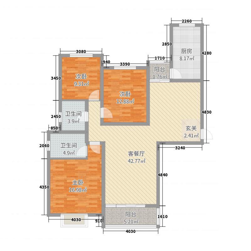 万信嘉和苑151.00㎡a户型3室2厅2卫