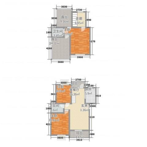 西科苑3室1厅2卫1厨119.63㎡户型图