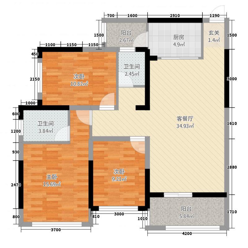 中央花园16.38㎡1#楼3单元03号房2室户型2室2厅2卫1厨