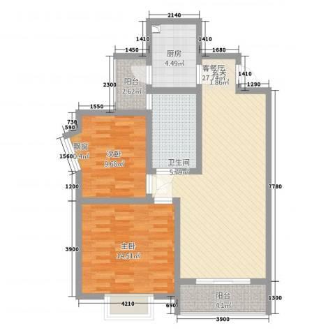 西科苑2室1厅1卫1厨83.00㎡户型图