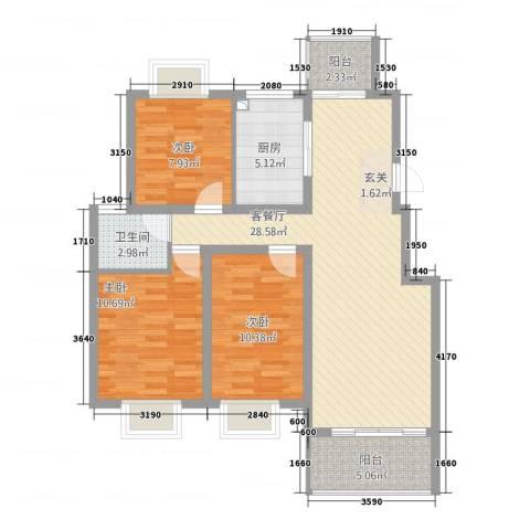 田园牧歌3室1厅1卫1厨73.36㎡户型图